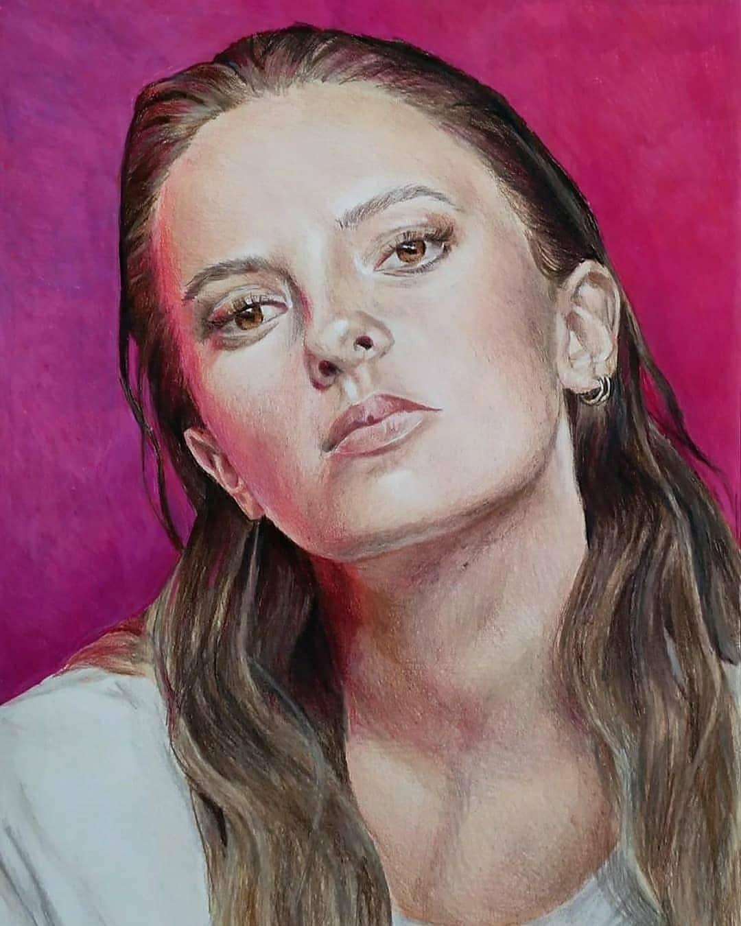 Colored pencil drawing of Francesca Michielin