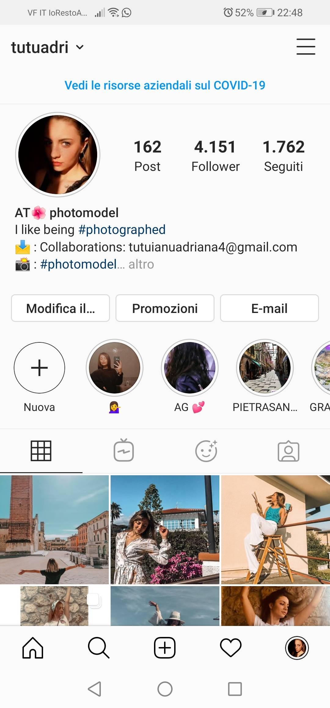 Cerco pubblicità per il mio account instagram