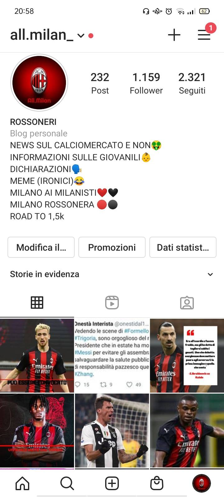 Ho 1100 follower-scambjo pubblicità con story e post